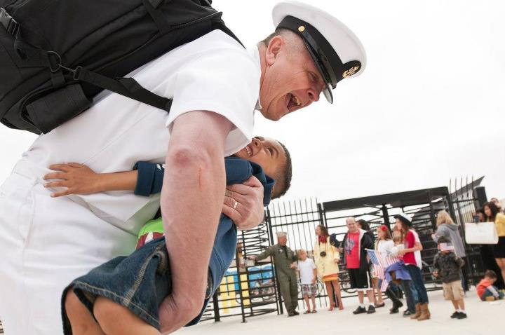 Guns and Military 130429-N-TQ272-195 SAN DIEGO (April 29, 2013) A Sailor assigned to the aircraft carrier USS John C. Stennis (CVN 74) embraces his son after arriving at Naval Air Station North Island. The John C. Stennis Carrier Strike Group returned from an eight-month d