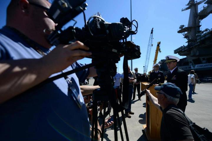 Guns and Military Rear Adm. Mike Shoemaker briefs media on the pier during the homecoming of the aircraft carrier USS John C. Stennis (CVN 74) to Naval Station Kitsap in Bremerton, Wash. John C. Stennis is returning from an eight-month deployment to the U.S. 5th and 7th Fl