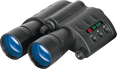 "If you want technologically advanced Nightvision binoculars, look no further. The ATN Night Scouts are so-called ""Smart"" binoculars. They come with a high resolution 1st generation intensifier tube, which gives you a light amplification of 35,000 max. The computerized proximity sensor, when activated, turns the unit on when in viewing position and off when not. The heavy-coated 90mm glass lenses allow for optimum clarity and distance viewing. The best part is that if there is no light to amplify, you can cut through the darkness with the help of the infrared illuminator. These nightvision binos are great for viewing animals without needing a spotlight. The 5x magnification brings images in close and the optical clarity of the unit makes using them a joy. - $349.88"