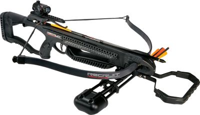 Fitness Barnetts Recurve Crossbow packs 65 ft.-lbs. of kinetic energy for the punch you need out in the field. Metal Injection Molded trigger delivers an ultrasmooth trigger pull. Anti-Dry-Fire Trigger System prevents damage to crossbow. Allows for integration of a CCD. Interchangeable grips. Adjustable buttstock fits various-sized shooters. Lightweight composite stock with Picatinny rail lets you add accessories. AVi anti-vibration foot stirrup. Compatible with Barnetts integrated crank system (not included). Five-year warranty. Power stroke: 12.5. Draw weight: 150 lbs. Length: 32.5. Width: 27.5 Weight: 4.9 Lbs. Color: Black. Recruit Recurve Crossbow Package includes: Red dot sight, Quiver, 3-18 Aluminum Arrows. Color: Black. - $179.88