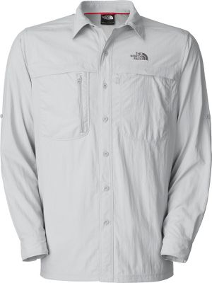 Camp and Hike Stay covered from sunup to sundown in The North Face Horizon Peak Long-Sleeve Woven Shirt. The ultimate lightweight woven hiking shirt made of durable 100% nylon ripstop fabric with a durable water-repellent finish for added protection from unpredictable weather. Sleeve tabs at biceps let you keep your sleeves rolled up when the heat gets turned on. Features include a sun collar stand, side and underarm gussets, recycled rubber buttons,secure-zip chest pocket and Velcro chest pocket. Imported.Sizes: M-2XL.Colors: High Rise Grey, Asphalt Grey, Bruin Blue. - $65.00