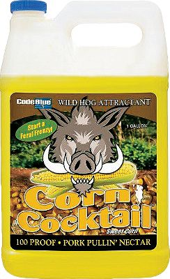 To grain-craving hogs, corn is king. Code Blue Corn Cocktail takes advantage with a royal combination of the ingredients they crave, including the sweet, irresistible aroma of corn. Pour into wallows or directly on the ground. Also works well mixed with feed in shallow holes. Liquid nectar absorbs deeply into soil to keep hogs rooting for days. Effectively attracts all species of feral swine from extreme distances, allowing you trophy opportunities that control the population. Size: 1 gallon. Color: Blue. - $5.88