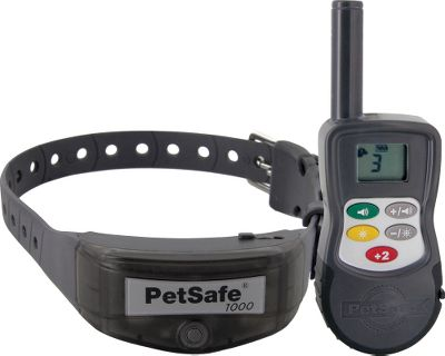 Entertainment Less time training and more time enjoying your dog is the principle behind the Elite Big Dog Trainer from PetSafe. At the push of a button the remote sends a signal up to 1,000 yards away to deliver a safe, gentle static correction to teach your dog. 15 levels of correction with boost button. Waterproof construction. Low-battery indicator. Both collar and remote operate off rechargeable batteries (included). For dogs 40 lbs. and up. Color: Black. Color: Black. - $119.88