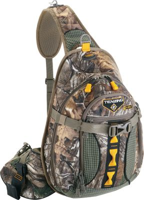 Hunting The TZ 1140 is a bowhunters dream. This packs single-sling design fits comfortably over either the left or right shoulder, giving you unrestricted draw and access to the quiver. A side-mounted clip on the left side keeps your bow close by, and a quiver mount on the right side makes your arrows easy to reach. A front-mounted rangefinder case makes dialing in distance that much faster and easier. 12 compartments and pockets, including five specialized zip pockets marked with orange zippers and pulls. Padded hip support and a breathable, mesh back pad for comfortable carry. The belt is adjustable to ensure a customized fit for optimal load-bearing distribution. A hydration compartment and port can hold a 2-liter water reservoir (not included). Made of durable, three-layer, 210-denier tricot and Dyneema fabric in key locations for the ultimate in wear resistance and strength. Waterproof layer has a soft, brown PVC backing and a durable water-repellent finish. Mesh pockets in some areas. Imported.Capacity: 1,140 cu. in.Dimensions: 17H x 12W x 5D.Empty weight: 2 lbs. 3 oz.Camo pattern: Realtree XTRA. Type: Hunting Packs. - $89.88