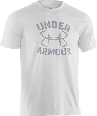 Fitness The Under Armour Wordmark Hook Tee Shirt is constructed of Charged Cotton for cotton-like softness and quick-drying comfort. UAs signature Moisture Transport System wicks moisture away from skin, while anti-odor technology prevents growth of odor-causing microbes. 60/40 cotton/polyester. Imported.Sizes: M-2XL.Colors: True Grey Heather, White. - $22.88