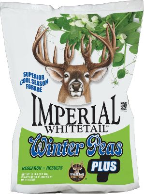 Hunting Whitetail Institute Imperial Winter Peas Plus has all the attraction of peas in a blend that alleviates the damage deer can do to their young sprouts. A product of years of research, this fall annual provides critical cover for young peas to germinate and grow without hampering their effectiveness. During extensive trials, deer chose the two high-sugar, high-protein winter peas in this blend. Exclusive winter-hardy, high-sugar forage oats and a heavy forage-producing radish provide cover for the peas as they germinate. Available: 11 lbs. Plants up to 1/4 acre. - $29.99