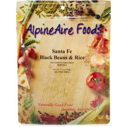 Camp and Hike Enjoy the zesty Southwestern flavor of the AlpineAire Santa Fe Black Beans & Rice freeze-dried meal when you're kicking back at camp. Contains white rice, black beans, sweet corn, carrots, onion and a blend of spices. Just mix contents with boiling water in the pouch provided; let stand for 10 - 12 min. and serve. Nutrition facts displayed here and on packaging may differ; information on packaging reflects actual contents. *Discount will be applied when you check out; offer not valid for sale-price items ending in $._3 or $._9. - $3.93