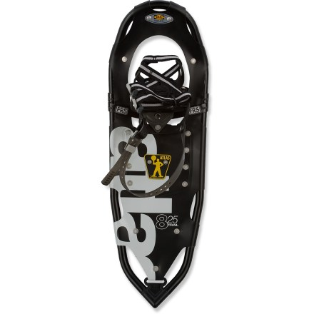 Fitness With great value and performance, the Atlas 825 snowshoes supply traction and flotation for romping about in the snow on flat terrain and packed trails. Tough frames are crafted from 6061 aluminum to create a stiff yet lightweight chassis and are shaped to facilitate a natural stride. Free-Rotating(TM) Suspension lets the binding rotate much farther forward than previous Atlas designs, freeing up the stride and reducing the amount of tail flip. The result is that freedom of movement is increased, the toe crampon can bite into snow better and the foot is allowed a more natural rotation. Abrasion-resistant, lightweight Nytex(TM) nylon decks stay flexible when cold and stand up to the elements. Strapp(TM) bindings offer straightforward, no-fuss use; webbing tightens snugly with a quick pull and heel straps secure feet. Steel toe crampons supply sure-footed traction on snowy terrain; heel crampons increase traction while traversing and descending. Atlas 825 snowshoes' recommended load specification includes weight of hiker with gear. - $92.93