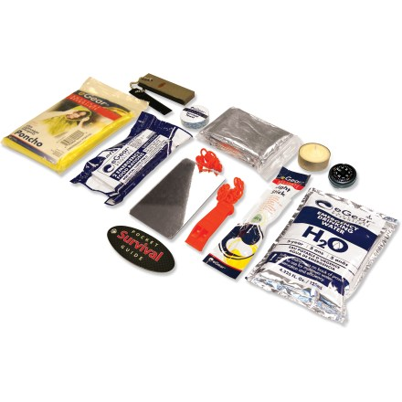 Kayak and Canoe The eGear Marine Survival Essentials 200 kit improves your preparedness for sea-faring adventures by providing basic necessities in a pack that's easy to bring with you while kayaking or boating. 200 kit includes items the 100 kit doesn't have, such as a light stick, paracord, and a floating knife. Pack also includes an emergency blanket, emergency marine whistle, 2 oz. food bar, 4 oz. water pouch, basic map compass and small signal mirror. Included pocket survival guide features information about using your Marine Survival Essentials kit. Bright yellow pack is easy to spot. Closeout. - $7.73