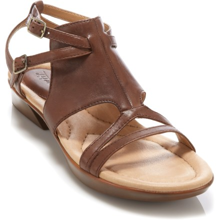 Surf Spice up your summertime wardrobe with the stylish full-grain leather Earth Tabasco sandals. Straps, buckles and cutouts adorn the tumbled full-grain leather uppers. Multi-density, cushioned footbeds, reinforced arch support and padded heel areas keep your feet comfortable throughout the busy day. Rubber outsoles offer grip. Closeout. - $34.73