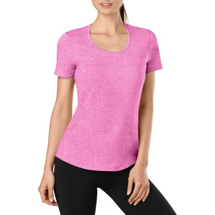 Fitness Even though the Lucy Workout T-shirt is made from a moisture-wicking, quick-dry polyester blend, there's no reason you shouldn't wear it any day of the week for sweat-free workouts as well. Flattering curved hem keeps you covered; flatlock seams discourage chafing and enhance durability. Closeout. - $9.73