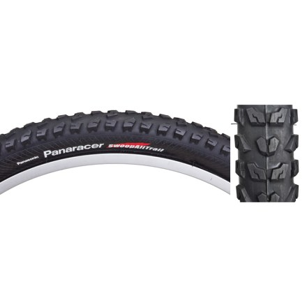 Fitness Enjoy solid traction at a fantastic value with the Panaracer Swoop AllTrail Tire, which offers an aggressive tread and large-volume 2.4 in. width for your 26 in. mountain bike wheels. Aggressive tread delivers confident all-around traction that climbs just as well as it descends. Resilient 30 tpi casing stands up to rough, demanding trails; wire bead. Closeout. - $9.73