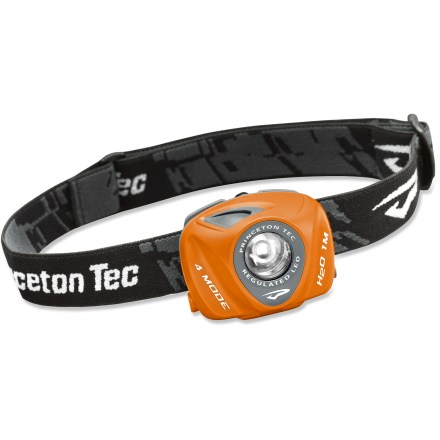 Camp and Hike Lightweight, compact and versatile, the Princeton Tec EOS LED headlamp will light your way, whether discreetly illuminating the pages of a book or brightly shining while you set up camp after dark. Single bright LED bulb operates in high, medium, low and flashing modes to meet your lighting needs; at its strongest, LED puts out an impressive 80 lumens. Regulated power current ensures that the EOS will remain at a constant brightness as long as the batteries have sufficient voltage. Single switch on top of headlamp is easy to find and use; pivoting headlamp lets you point the beam where you prefer. Single, adjustable strap fits easily over hats, beanies or climbing helmets. Operates on 3 AAA batteries, alkaline batteries included; the EOS can be powered with alkaline or lithium batteries. Waterproof to 1 meter for up to 30 minutes. Overstock. - $32.73