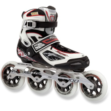 Skateboard Change up your fitness routine with the women's Rollerblade Tempest 100 inline skates. These skates feature a slight rocker that can help you take your training to a new level. Built specifically for performance, the Tempest 100 features 90mm front wheels and 100mm back wheels for a smooth, fast ride. Precision 5 Star fit liner eases entry with smooth heel slide; anatomically designed memory foam conforms to the shape of your feet. Fiber tech shell provides excellent transmission, precision and control so you remain confident at high speeds. Ratcheting cuffs and power straps lock your feet into optimum skating position. Extruded aluminum frames respond to your stride as an extension of your foot, maximizing speed with high torsional rigidity. Wheels with SG9 bearings augment speed and keep you rolling smoothly. Closeout. - $125.73