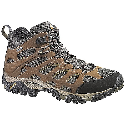 Camp and Hike Free Shipping. Merrell Men's Moab Mid GTX XCR DECENT FEATURES of the Merrell Men's Moab Mid GTX XCR Waterproof Dura leather and mesh upper Bellows tongue keeps debris out Synthetic leather toe cap and heel counter Waterproof membrane treated with Aegis The SPECS Weight: 1 lb 15 oz Molded nylon arch shank Compression molded EVA footframe provides cushioning Merrell air cushion in the heel absorbs shock and adds stability 5mm sole lug depth Vibram Multi-Sport Sole/TC5+ Rubber - $134.95