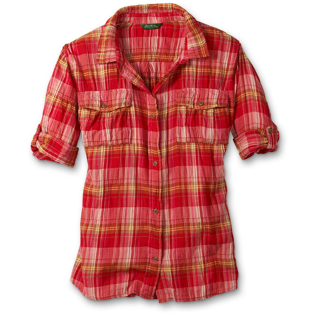 "Camp and Hike Eddie Bauer Plaid Camp Shirt - So long flannel, hello camp shirt. Travel-friendly and supremely packable. Soft, lightweight crinkled cotton with a hint of spandex keeps you cool and comfortable. Two chest button pockets. Elbow-length sleeves roll up to short sleeves secured with tabs. Vibrant yarn-dyed plaids. Classic fit. Length: 28"". Imported. - $59.95"