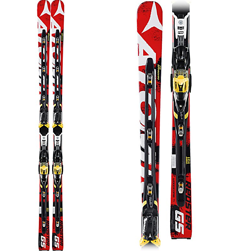 Ski Atomic Redster FIS D2 GS Junior Race Skis with X16 Bindings - The Atomic Redster FIS D2 GS Jr Race Skis are a high powered GS race ski for your junior racer. Designed with its Redster Doubledeck, you'll be able to do some major carving much easier without losing any of the precious edge grip or performance. You'll also have excellent power transmission thanks to the Power Transmission Bridges which has direct interaction with the piste. A flexible connection between upper and lower decks helps absorb energy and provides maximum acceleration so your skier can truly get ahead of the pack. The Atomic Redster FIS D2 GS Jr Race Skis are fully compliant for any FIS sanctioned race. . Tip/Waist/Tail Widths: 104/64.5/88.5mm (@ 171cm), Actual Turn Radius @ Specified Length: 19.5m (@ 171cm), Warranty: One Year, Type: Race Skis, What Binding is Included?: X16, Construction Type: Cap, Core Material: Wood, Base Material: Sintered, Tail Profile: Flat, Special Features: Double Deck Technology, Special Features: Chassis: D2, Bindings Included: Yes, Binding DIN: 8-16, Rocker: Tip Rocker/Camber, Binding Weight Range: 165+ lbs., Flex: Stiff, Used: No, Titanium: No, Turn Radius: 16-20, Waist Width: 64mm, Ski Gear Intended Use: Race, Skill Range: Advanced - Pro, Model Year: 2013, Product ID: 314001, Model Number: AA0024478171 - $449.93