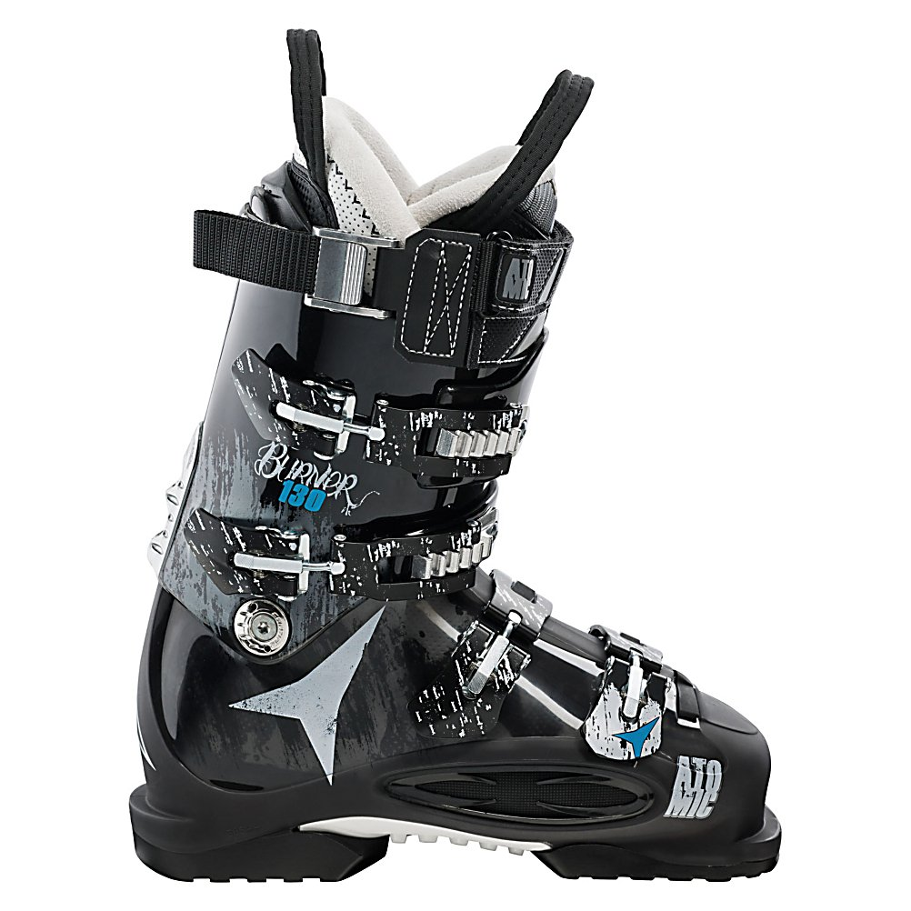 Ski Atomic Burner 130 Ski Boots - The Atomic Burner 130 Ski Boots are your super-stiff all-mountain boot designed for the skier who really knows their way around the mountain. For advanced skiers, these Burners are made with a stable inside face which will allow the skier to increase the pressure on the ski through every turn and maximize edge grip giving you a truly performance-driven boot to conquer the terrain. For comfort, the Burners are made with a Live Fit Zone on the outside of the boot which helps your feet remain in a natural and more comfortable position and alleviates any pain from pressure points. This feature will give you more balance and stability even as your hard-charging the mountain at high speeds. Skywalk Rubber makes these boot the ideal choice when you're on ridge lines and helicopter skids giving you a secure grip. Technology driven to give you a high-performance boot for all of your all-mountain adventures, from piste-to-powder, the Atomic Burner 130 Ski Boots will have you skiing at your best every time you head out to the mountain. . Skill Range: Advanced - Pro, Model Year: 2013, Product ID: 314125, Model Number: AE5006720 245, GTIN: 0884397634594, Calf Volume: Medium, Instep Height: High, Ski Gear Intended Use: All Mountain, Category: Downhill, Buckle Material: Aluminum, Buckle Count: 4, Flex Adjustment: No, Forefoot Width: 98mm at Reference Size 26.5, Number of Micro Buckles: 4, Prewired For Heat: No, Ski/Walk: No, Used: No, Flex: Very Stiff, Special Features: Enduro Chassis, Ski - $299.92