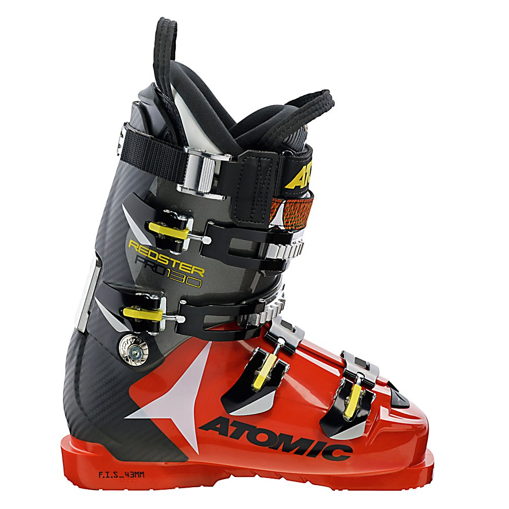 Ski Atomic Redster Pro 130 Race Ski Boots - The new Atomic Redster Pro 130 is a high end and very stiff race boot that has many customizable options. The boot has double the amount of micro cuff alignment compared to any other boot on the market. The upper cuff can rotate 5 mm in each direction so you can save big bucks by not having to get this speedster planed. The Redster 130 also has interchangeable boot boards so the entire chassis can flex according to your needs and can be tuned to your skiing style. A flat bottom chassis allows your foot to sit naturally inside the boot for better balance and a more comfortable fit. The Carbon Spine adds lots of rigidity with out adding extra weight for increase power and acceleration. These boots have a 130 flex and is up to six times stiffer than the previous model. The incredible power transmission allows you to carve more precisely and more aggressively than ever. Designed for the super athletic skier, the Atomic Redster Pro 130 Race Ski Boots will have you speeding down the mountain and shaving seconds off your time. . Actual Flex: 130, Cuff Alignment: Dual, Warranty: One Warranty, Special Features: ASY Elite T3 Liner, Ski Boot Width: Narrow (95-99mm), Special Features: Carbon Spine, Flex: Very Stiff, Used: No, Ski/Walk: No, Prewired For Heat: No, Number of Micro Buckles: 4, Forefoot Width: 98mm, Flex Adjustment: No, Buckle Count: 4, Category: Race, Ski Gear Intended Use: Race, Skill Range: Expert - Pro, Model Year: 2013, Product ID: 314138 - $399.99