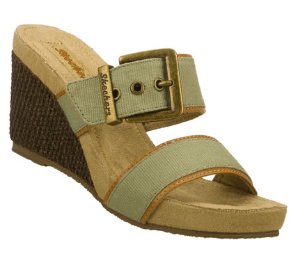 Surf Your dreams of stylish comfort come true in the SKECHERS Modiste - Wishing Star sandal.  Woven canvas fabric upper in a two strap wedge heeled dress espadrille sandal with stitching accents and adjustable buckle. - $46.00