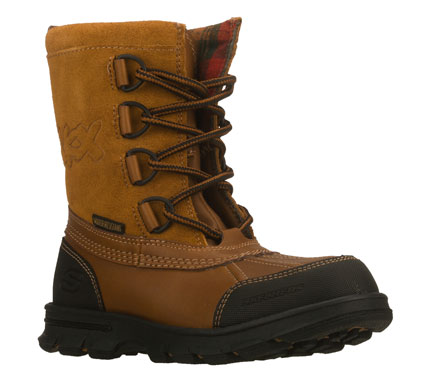 He'll love the cool classic style of the SKECHERS Liam - Lovato boot.  Synthetic and suede upper in a lace up front mid calf height cool weather casual boot with stitching and overlay accents.  Water resistant. - $55.00