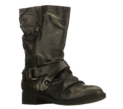 Complex and stylish detail goes into the SKECHERS Hard Wear - Complicate boot.  Lightly rub distressed smooth faux leather upper in a mid calf height side zip casual boot with ruched design and strap detail. - $80.00