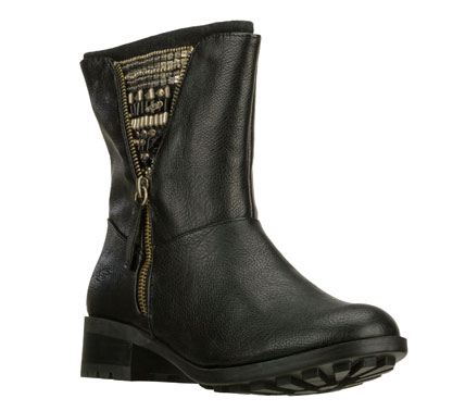 Show off your unique cool style in the SKECHERS Lunacy - Cult boot.  Full grain lightly textured faux leather upper in a tall ankle height dress casual boot with side zipper and beaded detail. - $79.00