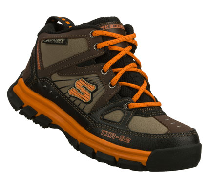 Camp and Hike He'll be ready for any adventure wearing the SKECHERS Challengerz - Sponnick shoe.  Nubuck leather and synthetic upper in a lace up sporty casual high top hiking sneaker with stitching and overlay accents. - $50.00