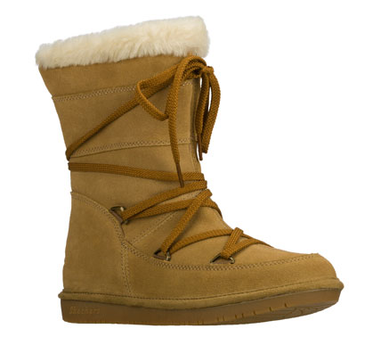 Stay cozy and comfortable wearing the SKECHERS Shelbys - Moon Sailor boot.  Soft suede upper in a slip on casual cold weather boot with lace up front; stitching and overlay accents. - $75.00