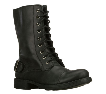 Add a kick of tough and fashionable style with the SKECHERS Leverages - Pull Rank boot.  Smooth leather upper in a lace up casual tall ankle height combat style boot with stitching and overlay accents. - $79.00