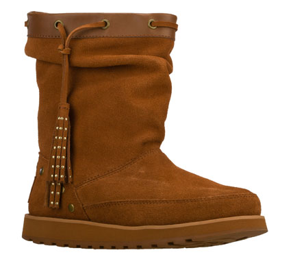 Look perfectly stylish and feel the warmth in the SKECHERS Keepsakes - Tassel boot.  Soft suede upper in a slip on casual low mid calf height cool weather boot with stitching; metal stud and side tassel accents. - $80.00
