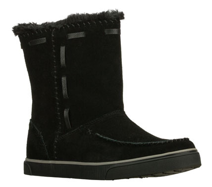 Keep warm and looking your finest wearing the SKECHERS Stratify - Cheyenne boot.  Soft suede upper in a slip on low mid calf height casual cool weather boot with stitching and overlay accents. - $85.00