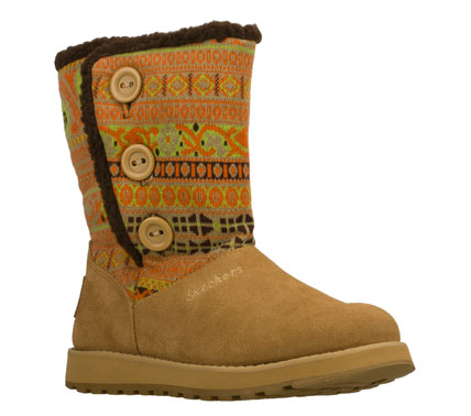 Beat those cold weather blues with the SKECHERS Keepsakes - Cardigan boot.  Soft suede and sweater knit fabric upper in a slip on casual mid calf height cool weather boot with stitching and overlay accents. - $65.00
