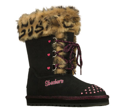 Treat her right with fun comfortable style in the SKECHERS Twinkle Toes: Keepsakes - Spoil Me boot.  Soft suede-textured fabric in a slip on casual cool weather boot with fun faux fur trim. - $53.00