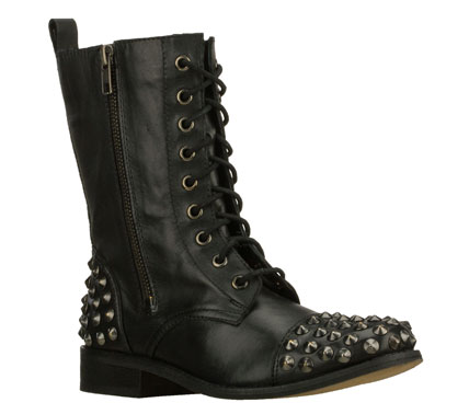 Make an emphatic statement in the SKECHERS Abbot boot.  Smooth leather upper in a lace up dress casual mid calf height fashion boot with stitching; overlay and metal stud detail. - $125.00