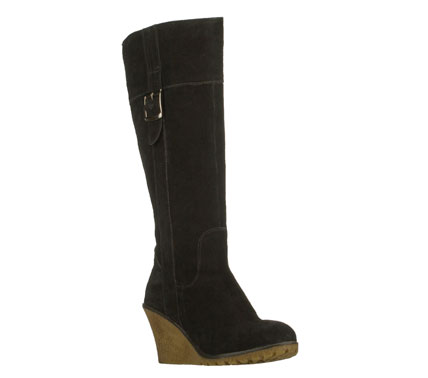 Smart and versatile style suits you well in the SKECHERS Dandy - Perfection boot.  Soft suede upper in a tall mid calf height wedge heeled side zip dress casual boot with stitching and overlay accents. - $89.00
