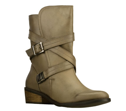Bold style and comfort combine in the SKECHERS Natives - Thunder Creek boot.  Smooth leather upper in a slip on mid calf height casual boot with split shaft design; strap details and stitching accents. - $99.00