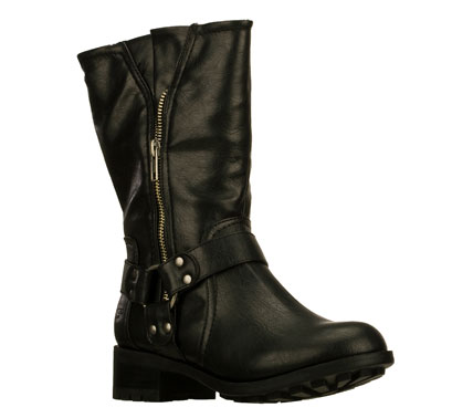 Get revved up for casual fun style with the SKECHERS Lunacy - Chopper boot.  Full grain textured faux leather upper in a mid calf height side zipper casual harness boot with sizing zipper and metal stud accents. - $79.00