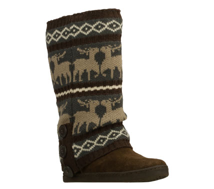 Hunting Get double the fun cool weather style wearing the SKECHERS SKCH Plus 3 - Doe A Deer boot.  Soft suede upper in a slip on mid calf height casual cool weather boot with hidden wedge heel and removable sweater accent. - $99.00