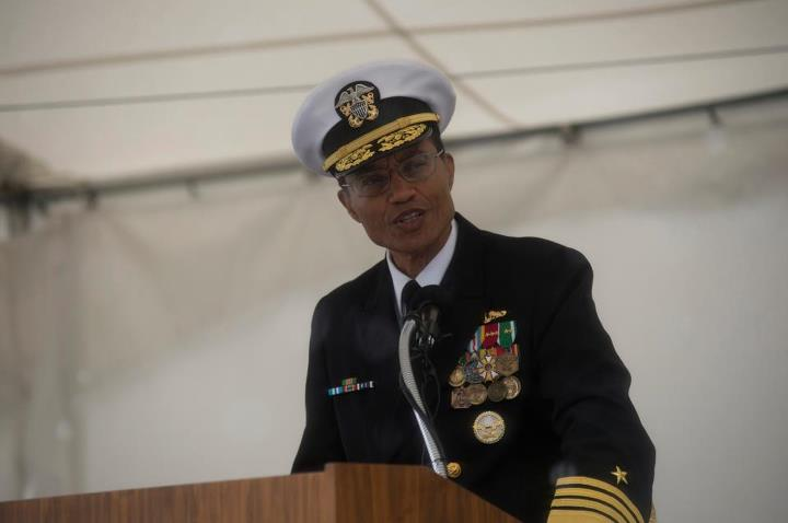 Guns and Military Commander, U.S. Pacific Fleet, Adm. Cecil D. Haney speaks during the commissioning ceremony of the San Antonio-class amphibious transport dock ship USS Anchorage (LPD 23) at the Port of Anchorage. More than 4,000 people gathered to witness the ship's comm