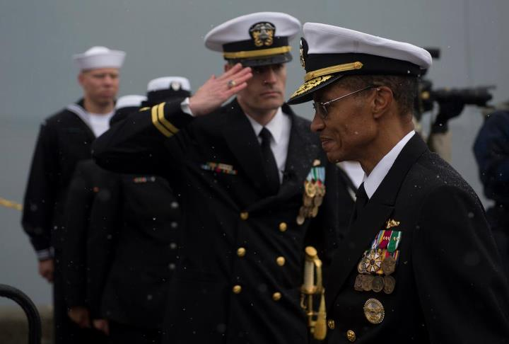 Guns and Military Commander, U.S. Pacific Fleet, Adm. Cecil D. Haney arrives at the commissioning of the San Antonio-class amphibious transport dock ship USS Anchorage (LPD 23)  at the Port of Anchorage. More than 4,000 people gathered to witness the ship's commissioning i