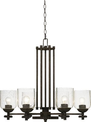 Add a bit of industrial chic to your space with this Livingston Chandelier. The metal and gear look has a dark rust finish, while the 5 clear seedy glass shades let light shine freely from six 60-watt-maximum bulbs (bulbs not included).Dimensions: 26H x 28W. Type: Chandeliers. - $299.99