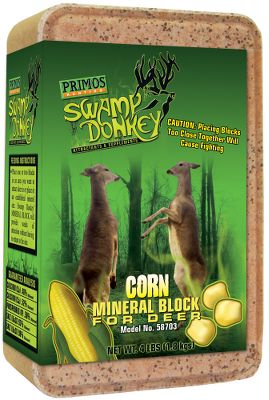 Hunting Years of test results have proven the Primos Swamp Donkey 4-lb. Block as a sure-fire way to increase the health and growth of deer. This attractants secret formula uses premium organic and natural food-grade ingredients to increase deers energy, blood flow and overall health. In turn, it increases metabolism, reproductive health, and bone and antler formation. Tested by the University of Illinois, Swamp Donkey blocks are scientifically formulated with calcium, phosphorous and mineral oils. Manufacturer cautions that placing blocks too closely together causes fighting. Size: 4 lbs. Available: Sweet Corn. Color: Natural. - $5.99
