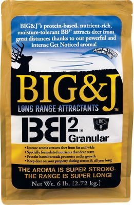 Entertainment Attractants are only as good as the distance deer can smell them. Big J BB2 Deer Supplement is a long-range attractant. Deer crave this formula so they keep coming back. The protein promotes antler growth. BB2 also comes in handy during preseason to establish travel patterns and acclimate deer to your area,as well as during the season to attract deer to your property, stand or camera sites. Size: 6-lb. bag. Gender: Male. Age Group: Adult. Type: Deer Attractants. - $11.88