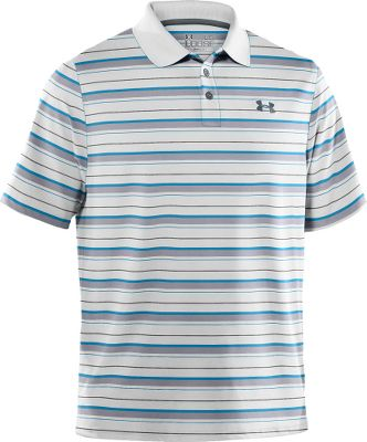 Fitness The Under Armour Performance Heather Stripe Polo wont wrinkle, snag, hold odor or fade. Smooth anti-pick, anti-pill fabric maximizes comfort and has a cleaner, snag-free finish. Four-way stretch gives greater mobility and maintains shape. Superior moisture transport wicks moisture away from the body. ArmourBlock antimicrobial technology reduces odor-causing microbes. UPF rating of 30 protects your skin from the suns harmful rays. Rib-knit collar provides durable stretch and a clean, classic look. Tough, dual-color three-button placket. 6-oz. 88/12 polyester/elastane. Imported. Sizes: M-3XL. Colors: Graphite, White. Size: Medium. Color: White. Gender: Male. Age Group: Adult. Pattern: Stripe. Material: Polyester. Type: Polos. - $38.88