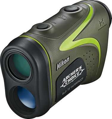Hunting Designed with realistic bowhunting scenarios in mind, Nikons 2013 Archers Choice Rangefinder is built with Nikons ID technology that compensates for various incline or decline shooting angles. This makes it easier to accurately range and shoot from treestands or steep embankments, as well as from flat terrain. The Archers Choice ranges from 11 yds. out to 600 yds. with bright 6X magnification in the Tru-Target ranging system. Switchable display option changes reticle from gray LCD to orange LED for exceptional subject-to-background contrast. It runs on one CR-2 battery (included) and powers down after eight seconds of idleness for battery conservation. Includes a silent technology case in Realtree APG Camo with single motion lanyard. - $199.88