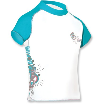 Kayak and Canoe Featuring short sleeves and sun-protective fabric, the Camaro Curls girls' rashguard stretches comfortably to follow every move your young water-adventurer makes. - $14.73