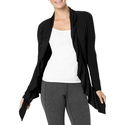 Fitness Easy to throw on as you transition from morning yoga to a hectic day, the lucy Inner Journey Ruffle wrap sweater helps you hang on to your relaxed vibe with its draped ruffles and soft cotton jersey. - $24.73