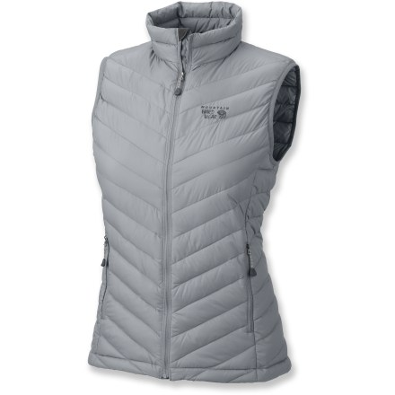 Fitness Insulated with premium 800-fill goose down, the Mountain Hardwear Nitrous vest is so light and fits so well that you'll choose it every time over that bulky old fleece vest hanging in your closet. Lightweight 30-denier ripstop nylon exterior is quilted to hold the goose down in place for even insulation. Vest stows in its own pocket for easy, compact packing. 2 zippered handwarmer pockets; dual hem drawcords. Closeout. - $85.73