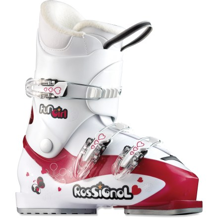 Ski Rossignol Fun Girl J3/J4 junior ski boots are a great choice for young skiers developing their skills. They provide a comfortable fit and basic performance features. - $49.83